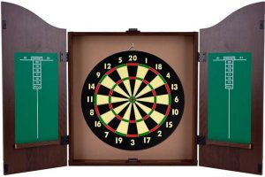 King's Head Dark Wood Dartboard Cabinet Set